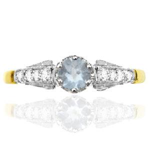 Sky Blue... Original Art Deco Aquamarine and Diamond ring -0
