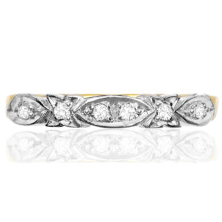 Sculptural... Original Art Deco Diamond Wedding Band -0