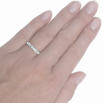 Sculptural... Original Art Deco Diamond Wedding Band -3698