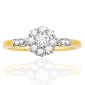 Grace Kelly... Original Art Deco Diamond Daisy ring -0