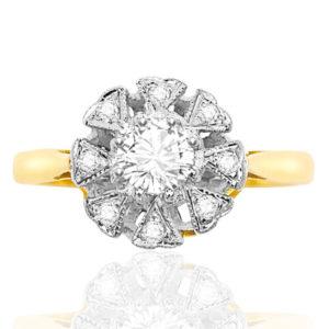 Heart to Heart... Original Art Deco Diamond Daisy ring -0
