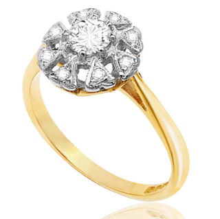 Heart to Heart... Original Art Deco Diamond Daisy ring -3602