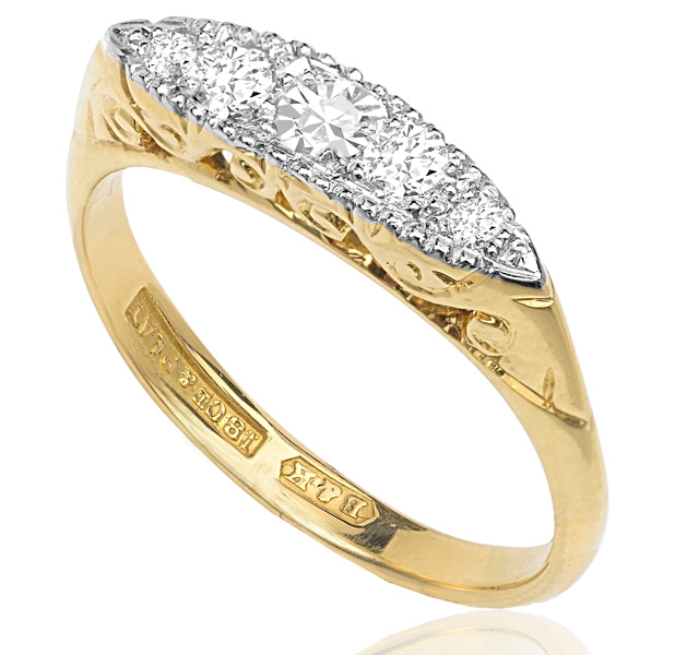 Sparkling... Original Art Deco 5 Stone Diamond ring -0