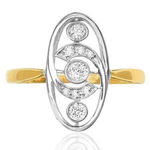 La Belle... Original Art Nouveau Diamond Plaque ring-0