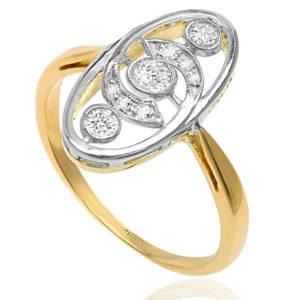 La Belle... Original Art Nouveau Diamond Plaque ring-3671