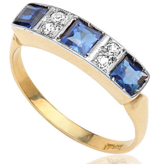Bright Blue... Original Art Deco Sapphire and Diamond ring -0