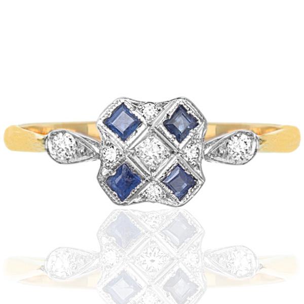 Striking... Original Art Deco Sapphire and Diamond ring -0