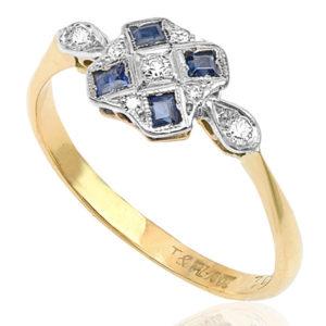 Striking... Original Art Deco Sapphire and Diamond ring -3717