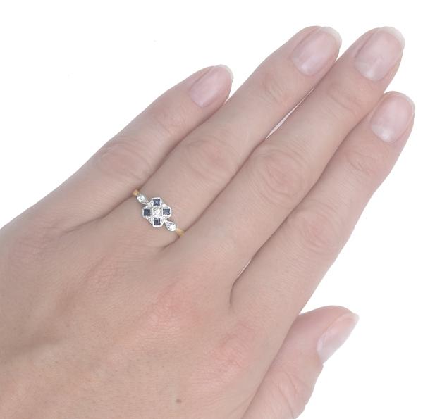 Striking... Original Art Deco Sapphire and Diamond ring -3718