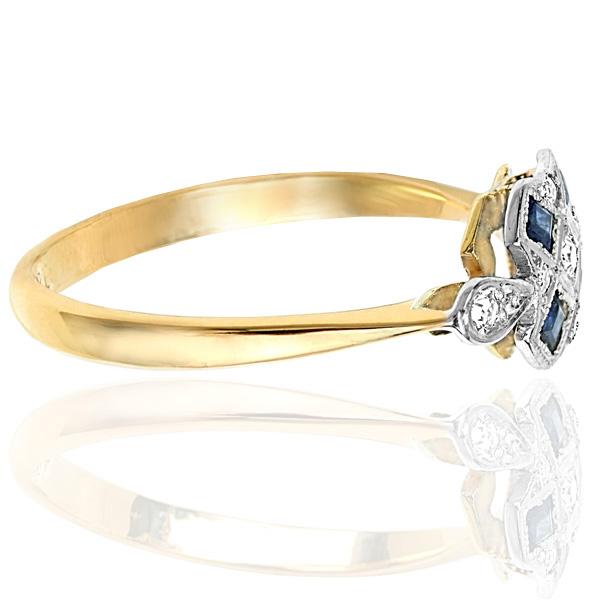 Striking... Original Art Deco Sapphire and Diamond ring -3719