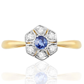 Original Art Deco Sapphire and Diamond Daisy ring -0