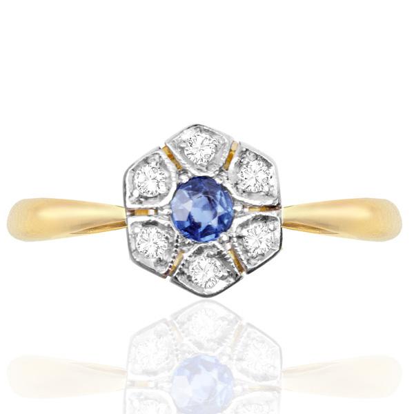 Original Art Deco Sapphire and Diamond Daisy ring -0