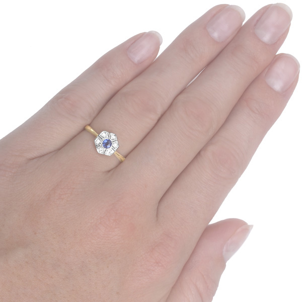 Original Art Deco Sapphire and Diamond Daisy ring -3694