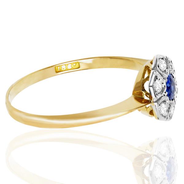 Original Art Deco Sapphire and Diamond Daisy ring -3695