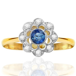 Perfect For You... Original Art Deco Sapphire and Diamond Daisy ring -0