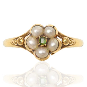 Victorian Pearl and Emerald Daisy ring -0