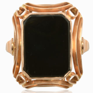 Wild Rose... Original 1930s Onyx ring -3776