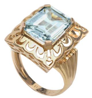 Icy Blue... 1940s Aquamarine ring -0