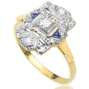 ***SOLD*** Berlin Beauty... Original Art Deco Sapphire and Diamond Plaque ring -0