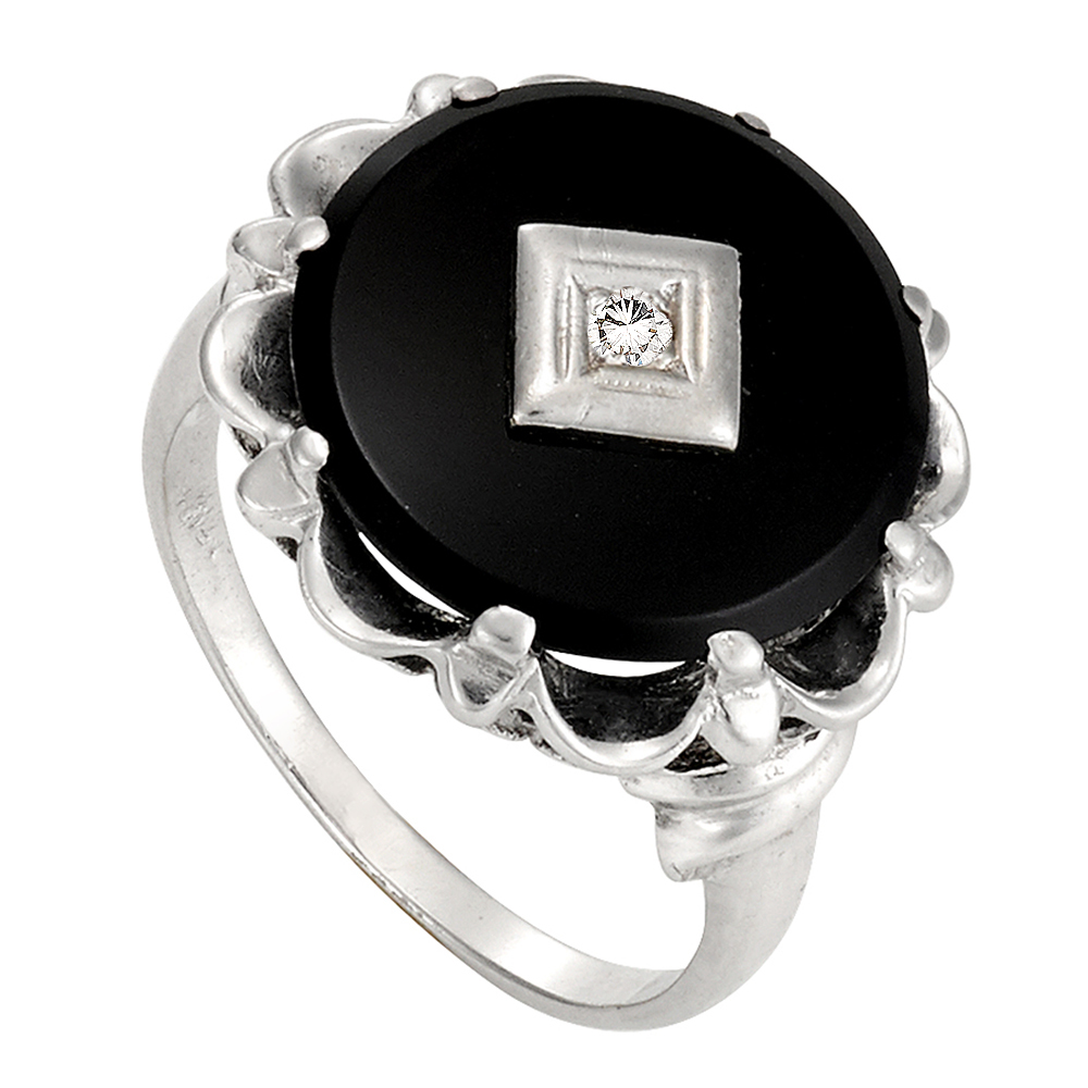 Black And White Original Onyx And Diamond Ring Helen