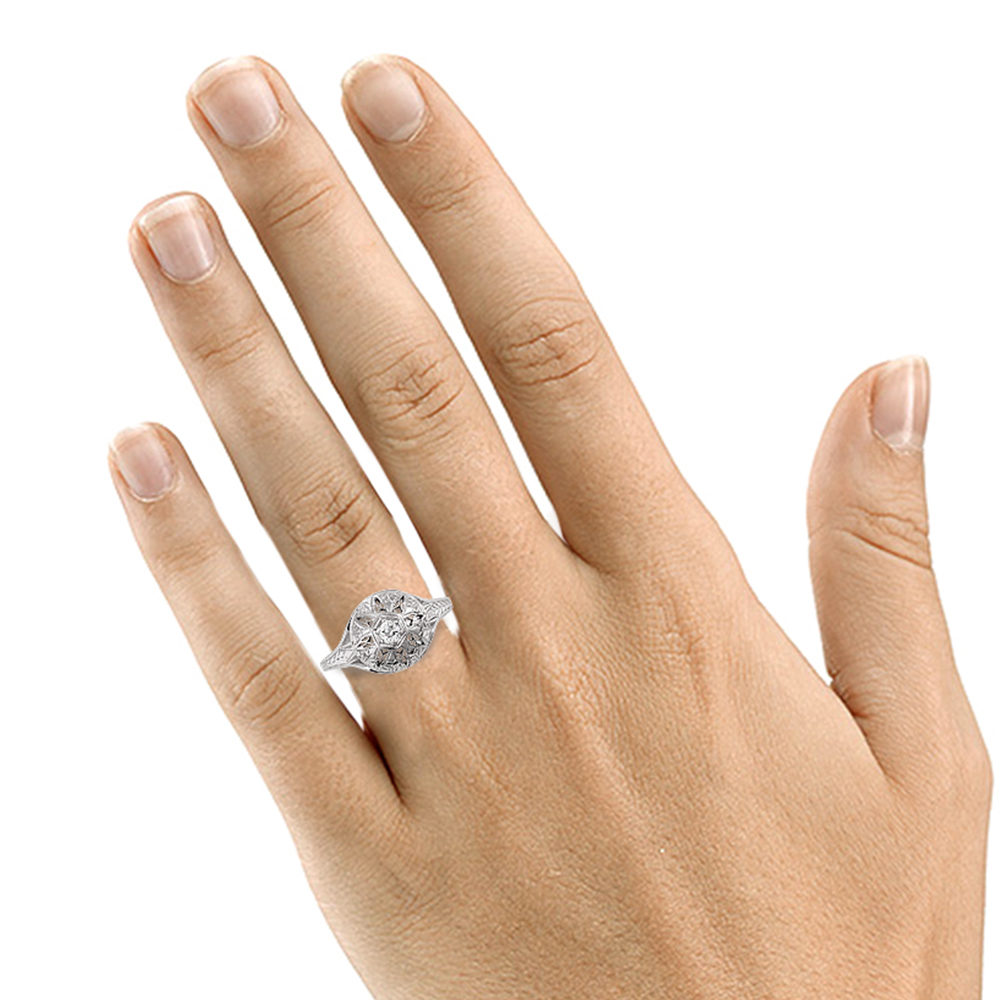 Art Deco Dome ring hand
