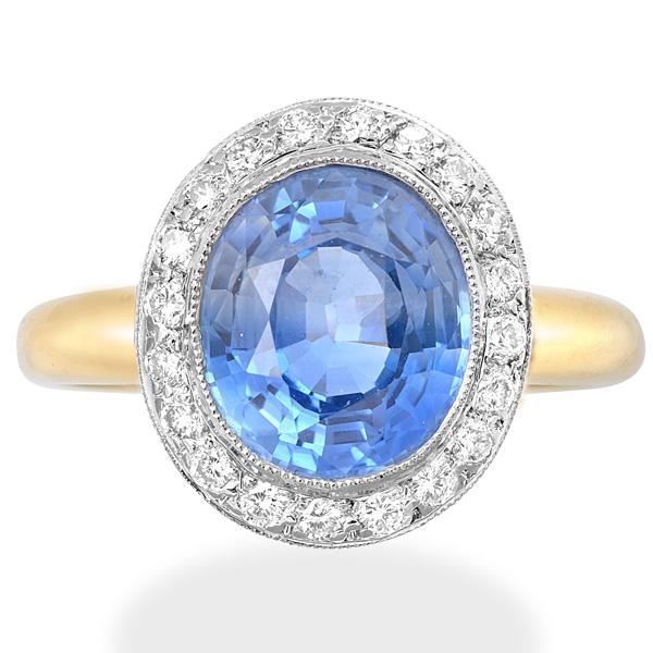 Handmade Ceylon Sapphire and Diamond ring